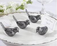 Wholesale Love Birds Wedding Decor - 100pcs lot Antiqued love bird or Silver love bird Place Card Holder wedding party table decor bridal shower favor Free Shipping