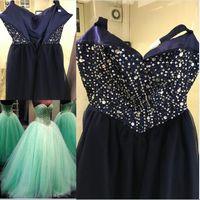 zemin uzunluğu balo elbisesi nane toptan satış-Stil 1 Moda Nane Yeşil Quinceanera elbise Balo Sevgiliye Boncuklu Kristal Dantel-up Kat Uzunluk Custom Made Tül Örgün Balo Elbise