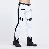 Wholesale Spliced Jeans - Wholesale-Fashion Distressed white jeans men Spliced skinny biker jeans mens Pleated jean Pencil Pants casual pantalones vaqueros hombre