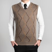 V-Neck cashmere sweater vests - Hot sale new fashion design men s argyle v neck sleeveless cashmere sweater vest