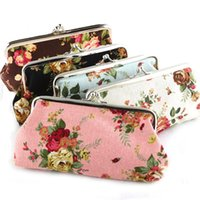 Wholesale Girls Rose Handbags - Hot Vintage Rose Flower Coin Purse Long 6 Inch Canvas Money Wallet Snap Floral Bag Key Holder Storage Pouch Clutch Handbag Christmas Gift