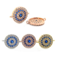 18K Gold Plated Evil Eye Connectors Link, Pavê Blue CZ Setting Round Evil Eye Pulseira Connector Charm Pendant For Bridal Jewelry DIY