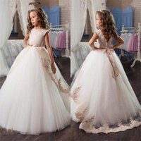 Wholesale Beautiful Bead Embroidery - Crystals Lace Arabic 2017 Flower Girl Dresses Short Sleeves Ball Gown Tulle Child Dresses Beautiful Flower Girl Wedding Dresses