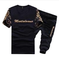 Wholesale Boys Sportwear - Plus Size 5XL T shirt+Shorts Set 2017 Summer Sportwear 2 Piece Set Men Casual Suits For Men Boys Outwear Suit Men Tracksuit