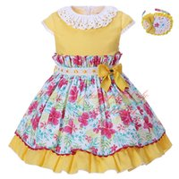Wholesale G Wholesale Kids Clothing - Pettigirl Newest Easter Summer Dress For Girls Yellow Cotton Kids Girl Dress With Bowknot Hairbands Floral Children Clothing G-DMGD002-1354