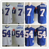 Wholesale Movie Filmed - Mens white cheap Movie Blue Mountain State Football Jersey stitched #54 Kevin Thad Devlin Castle Jersey #7 Alex Moran Film Jerseys S-3XL