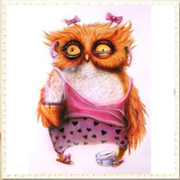 Oil Painting owls cross stitch - YGS DIY Full D Diamond Embroider The Pink Owl Round Diamond Painting Cross Stitch Kits Diamond Mosaic home Decoration