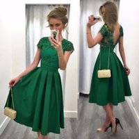 Wholesale short party dresses - Hot Sale Green Short Cocktail Party Dresses Tea Length A Line with Short Sleeve Open Back Sequin Lace Women Bridesmaid Dress Prom Gowns