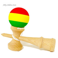 Wholesale Toy Sword Rubber - Striped Rubber Kendama Elastic Frosted Kendama Sword Ball Professional Wooden Toy Skillful Juggling Ball Game Toy For Children