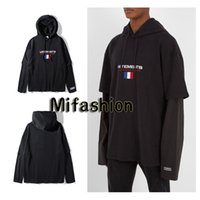 Wholesale Oversized Letters - 2017 Unisex Winter Autumn False Two Layered Vetements Oversized Embroidery France Flag Hip Hop Hooded Haute Couture Sweatshirts Hoodie