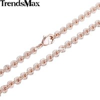 Trendsmax 3MM CUT Rolo Round Link Donna Womens Chain Ladies Rose Rose Gold oro giallo gioielli all'ingrosso Dropship GN357