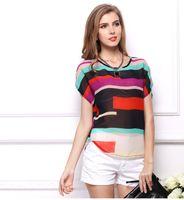 Wholesale Cheap Dolman Tops - Cheap Clothes Summer Women's T-Shirt Thin Tops Tees Large size striped bat shirt Loose short-sleeved striped chiffon shirt 1340