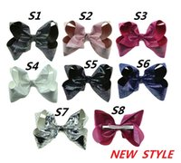 Wholesale Hair Claw Clip Styles - 7.5 cm Bowknot Print White Artificial Leather Head Clip JOJO new style princess dance hairflower Girl headdress baby hairpin L205