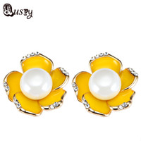 Wholesale Yellow Pearl Dangle Earrings - Big Imitation Pearl Earrings Yellow Enamel Flower Silver Plated Clear Crystal Rhinestone Stud Earrings Fashion Jewelry Female Ec