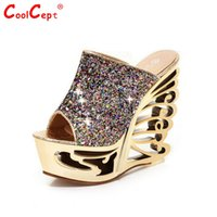 Wholesale Hot Sexy Wedges - Wholesale- CooLcept free shipping quality wedge sandals platform women sexy fashion lady female shoes P14498 hot sale EUR size 34-39