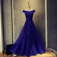 Wholesale Royal Blue Lace Evening Dress New Appliqued Long Evening Gowns Short Sleeves Prom Gowns Lace Up