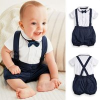 Wholesale Overalls T Shirts - Infant Baby Boys Cotton Bow T-shirts with Casual overalls 2017 Boys Fashion Summer Outfits two pieces