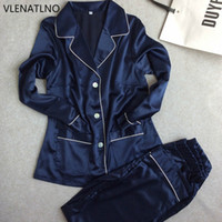 Wholesale womens satin silk pajamas - Wholesale- Womens Lace Silk Sleepwear Pajamas Sets Satin Spring Autumn Long-sleeved Pyjama Leisure Loungewear navy blue Set All Seasons