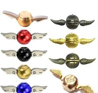 Wholesale Harry Potter Kid - Newest Harry Potter Fidget Spinners Golden Snitch Cupid Wing Metal Copper New Designs Decompression Toys Hand Spinners Gyro Spiral