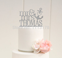 Vente en gros - Glitter Mr and Mrs Wedding Cake Topper avec VOTRE Nom de coeur Anchor Nautical Beach Toppers