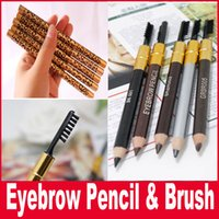 Wholesale Leopard Natural - New Makeup Eyes Leopard New Professional Double Head Make-up Eyebrow Pencil & Brush 5 color Black Brown Grey
