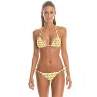 Wholesale Bikini Size Small - Smile Face Digital Print Small Bust Gather Together Bikini Tankini 2 Pieces Swimsuit Swimwear with One Size