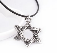 Wholesale israel necklace - Hot New Magen Star of David Pendant & Necklace Star Necklaces for Women Men Leather Necklace Israel Jewish Jewelry