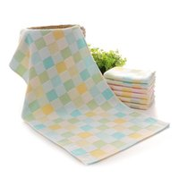 Wholesale Small Face Towels - Double color grid gauze child-towel cotton children face small towel