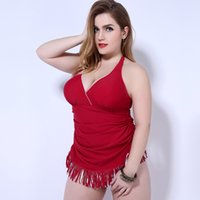 Quaste Halfter Badebekleidung Kaufen -Große Größe 2017 Hot Summer Beach Conservative Dame Halter Open Back Mode Quasten Einteilige Plus Size Fat Frau Bademode mit Fringe Bottom