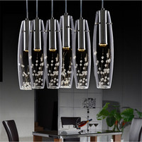 Wholesale Glass Flower Chandeliers - Modern Luxury LED Dining Room crystal chandelier Glass Vase Bottles Light Crystal Flowers Inside Bar Counter Restaurant Pendant Light