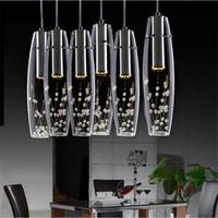 vases transparents achat en gros de-Salle à LED moderne lustre en cristal de chambre Vase en verre Bouteilles cristal Light fleurs à l'intérieur Comptoir de bar restaurant Pendant Light
