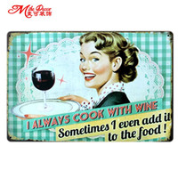 Wholesale Vintage B Sign - Wholesale- [ Mike86 ] I always cook with wine art Metal Tin signs Vintage Bar Craft Decor Wall art Painting 20*30 CM Mix Items B-252