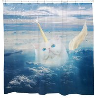 Wholesale Shower Curtain Funny Cat Unicorn Sky Blue Bathroom Polyester Shower Curtains Waterproof Antibacterial With Hooks Bath Curtains