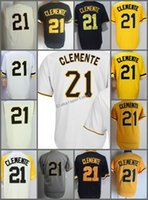 2018 Flexbase # 21 Roberto Clemente cool base Home Away Jersey Yellow Grey Cream Bianco Nero Camo Pullover Cool Base Stitched