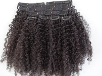 Wholesale Hair Clip Cloth - mongolian human virgin hair extensions with lacing cloth 9 pieces with 18 clips clip in hair kinky curly hair dark brown natural black color