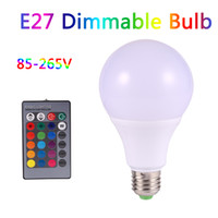 Wholesale Dimmable Cob 5w Led Bulb - LED RGB Bulb E27 Dimmable Led Lamp 16 Color Changing led Light Bulb 3W 5W 7W Globe Bulb 85-265V Spotlights + Remote Control