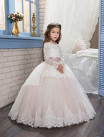 Wholesale Hot Pink Glitz Pageant Dresses - 2017 Pageant Dresses for Girls Glitz Long Sleeves Lace Up Ball Gown Appliques Bow Sashes Birthday First Flower Girl Dresses Hot Custom made