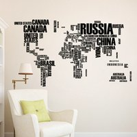 hogar en china al por mayor-Letras coloridas Mapa del Mundo pegatinas de pared Decoraciones de la sala de estar Decoración Pvc Creative Mural Arte Diy Office Wall Art 20pc H47