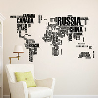 Wholesale Black Korean Style Glasses - wallpaper Colorful Letters World Map Wall Stickers Living Room Home Decorations Creative Pvc Decal Mural Art Diy Office Wall Art H47