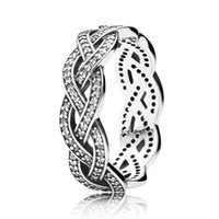 Wholesale Engagement Rings For Women - Authentic 925 Sterling Silver Ring Eternity Sparkling Braided Crystal Ring For Women compatible with Pandora jewelry HRA0095
