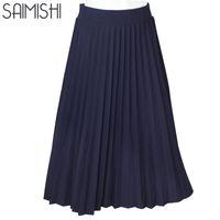 4b560fce821 Wholesale- Women Skirts High Quality Spring Autumn Summer Style Women s  High Waist Pleated Length Skirt 2017 Hot Fashion Thick Breathble