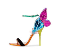 nuevas sandalias de mariposa al por mayor-2017 nueva llegada de las mujeres zapatos de mariposa punta abierta celebridad zapatos alas sandalias zapatos de fiesta gladiador sandalias de tacón de aguja zapato de la boda
