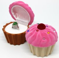 Wholesale Jewelry Pendant Cakes - Cute Cake Cup Shape Velvet Ring Box Earring Pendant Jewelry Treasure Gift Case 10pcs set free shipping