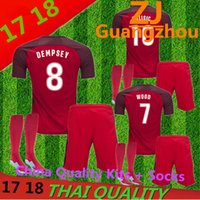 Wholesale Mens Summer Shirts Polyester - 17 18 top Quality United States Away Pulisic mens kits + Socks Jerseys 2017 DEMPSEY DONOVAN BRADLEY ALTIDORE Shirt USA size