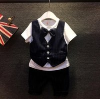 Wholesale Girl Down Set - New Hot Sale England Style Boys Summer Sets Butterfly Bow-Tie Gentleman Tshirt + Stripe Middle Pants 2pcs Boys Set 90-130 5set lot wt8304
