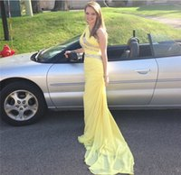 Wholesale Yellow Chiffon Crystals - Cheap One Shoulder Beaded Yellow Chiffon Prom Dresses 2017 Sweep Train Crystal Draped Backless Evening Party Gowns Custom Made