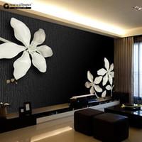 murs blancs fleurs noires achat en gros de-Papier peint mural en gros de taille 3D pour le salon, peintures murales en relief 3D en noir et blanc avec des fleurs de magnolia