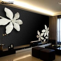 Wholesale Custom any size D wall mural wallpapers for living room Relief D black and white magnolia flower photo murals