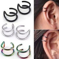 Wholesale Screw Backs - 2 Pcs set Punk Simple Ear Clip Cuff Wrap Earrings For Women Fashion Jewelry Clip-on Earrings Non-piercing Ear Cuff Eardrop