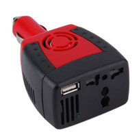 Wholesale dc ac car - New 150W Red Car Auto Inverter Power Supply 12V DC to 220V AC Laptop Computer